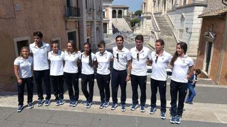 Atleti olimpici romani al Campidoglio in partenza per Rio