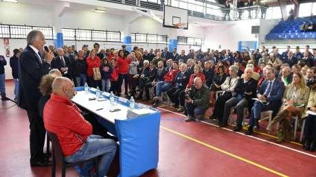 Amatrice riparte con lo sport. Malagò, Lotti, Pirozzi e Carraro inaugurano il 'nuovo' Palazzetto