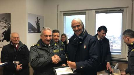 Malagò all'inaugurazione della nuova sede delle Fiamme Gialle a Predazzo intitolata a Carlo Valentino