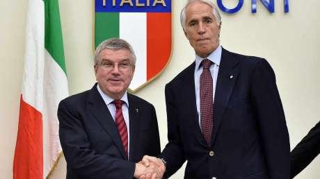 Conferenza stampa di Bach e Malagò al Foro Italico
