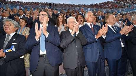 Mattarella al Foro Italico per Italia-Giappone, festa tricolore per inaugurazione Mondiale volley 2018