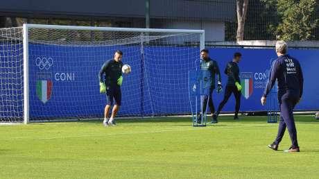 La Nazionale di calcio si allena al Centro di Preparazione Olimpica dell'Acqua Acetosa